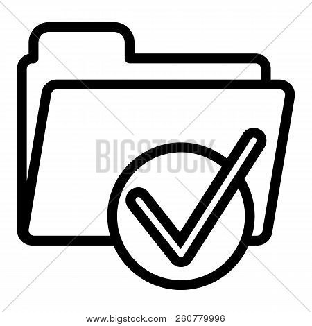 Folder With Tick Line Icon. Ready Sign On Folder Vector Illustration Isolated On White. Document Fol
