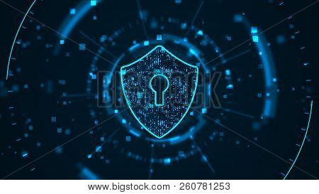 Cyber Security Concept: Shield With Keyhole Icon On Digital Data Background. . Blue Abstract Hi Spee