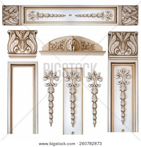 Element Woodcarving. Furniture In Classic Style. White Tree With Gold Trim. Patina. Carving. Small D