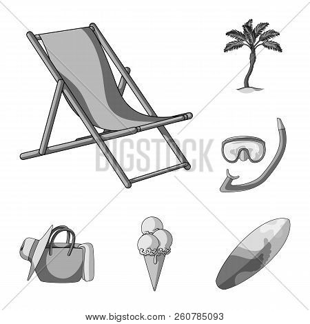 Summer Rest Monochrome Icons In Set Collection For Design. Beach Accessory Vector Symbol Stock Web I