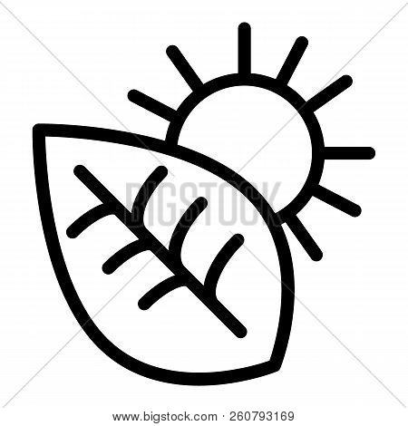 Photosynthesis Line Icon. Environment Vector Illustration Isolated On White. Leaf And Sun Outline St