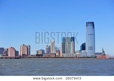 Horizonte de Hoboken de Nueva Jersey con rascacielos sobre el río Hudson desde la ciudad de Nueva York Manhattan hacer