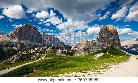 Cinque Torri, Dolomiti Alps, Italy. The Five Pillars In Dolomites Mountains, Alto Adige, South Tyrol