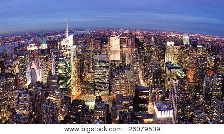 New York City Manhattan city skyline aerial view with urban skyscraper illuminated. poster