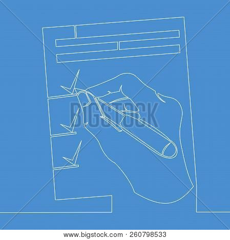 Continuous Single Drawn One Line Pen In Hand Picture Silhouette Line Art Doodle Hand Signs Documents