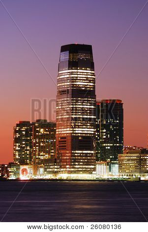 JERSEY CITY, NJ - AUG 8: Goldman Sachs Tower at sunset on August 8, 2010 in Jersey City, New Jersey. Goldman Sachs tower is the tallest building in New Jersey.