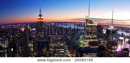 NEW YORK CITY, NY - NOV 13: New York City skyline at dusk on November 13, 2010. New York City is an important center for international affairs and is widely deemed the cultural capital of the world.