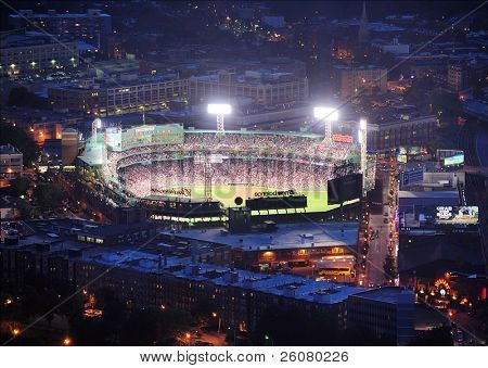 BOSTON, MA - JUN 20: Fenway Park at night on June 20, 2011 in Boston, MA. Fenway Park has served as the home ballpark of the Boston Red Sox baseball club since 1912, as the oldest Baseball stadium.