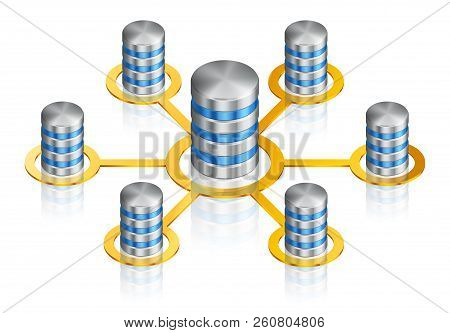 Illustration Of Computer Disk, Vector Isometric Icon Of Database With Progress Bar, Connected In Net