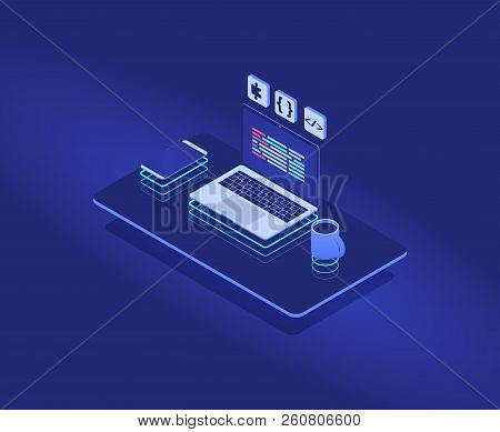 Programmers Future Workplace With Neon, Web Isometric Concept. Vector Illustration For Website Or Mo