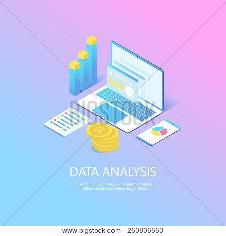Modern Web Concept With Flat Isometric Design Of Data Analysis. With Laptop, Diagram, Graphics, Coin
