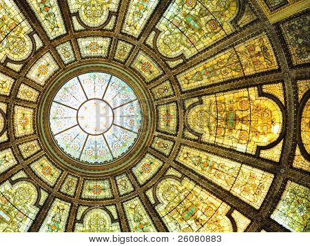 Chicago Cultural Center interior view with Healy and Millet stained glass dome in the Grand Army of the Republic rotunda