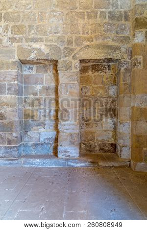 Recessed Frame (niche) In An Old Stone Bricks Wall, Medieval Cairo, Egypt