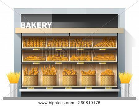 Different Kinds Of Bread Display On Shelf In Supermarket , Vector , Illustration
