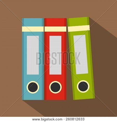 Red, Green, Blue Office Folders Icon. Flat Illustration Of Red, Green, Blue Office Folders Icon For