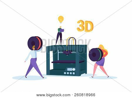3d Printing Technology Concept. 3d Printer Equipment With Flat People Characters And Computer. Engin