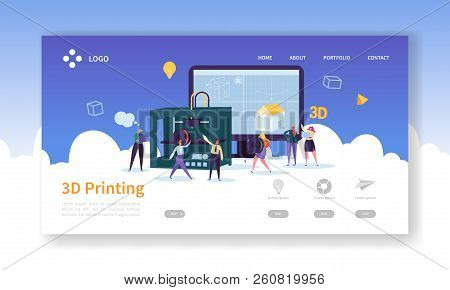 3d Printing Technology Landing Page. 3d Printer Equipment With Flat People Characters Website Templa