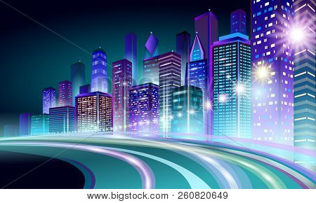 Smart City 3d Neon Glowing Cityscape. Intelligent Building Highway Route Night Futuristic Business C