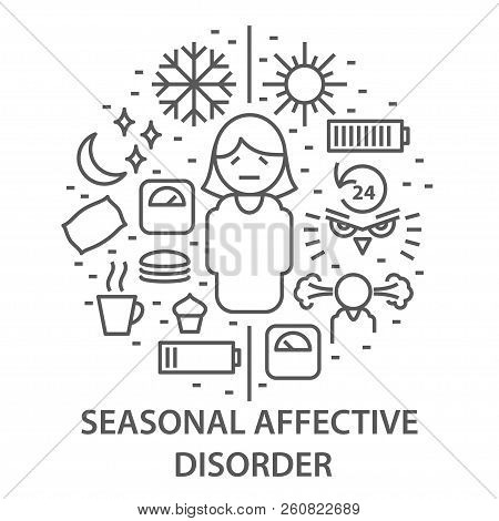 Linear Banners For Seasonal Affective Disorder. Mental Health Composition Vector Illustration