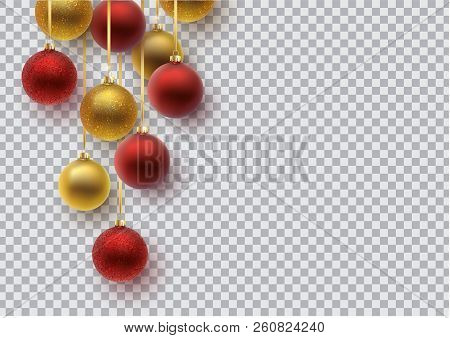 Christmas Greeting Card. Gold And Red Christmas Ball, With An Ornament And Spangles.hand Drawn Lette