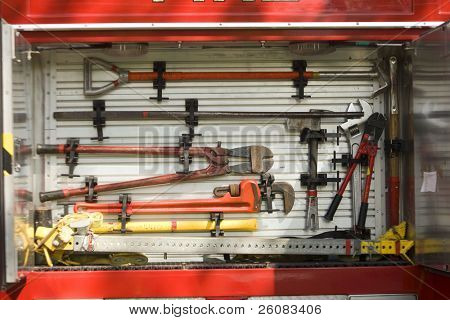 Fire truck equipment in rack