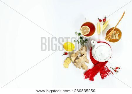 Hot Drink, Tea With Ginger, Lemon, Honey