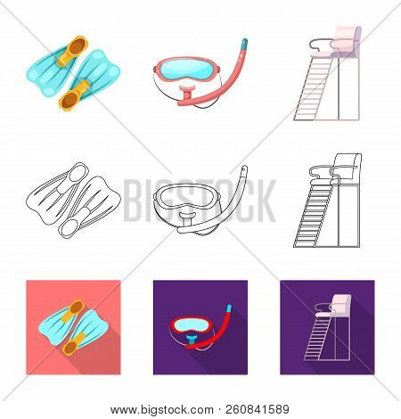 Vector Illustration Of Pool And Swimming Icon. Set Of Pool And Activity Vector Icon For Stock.