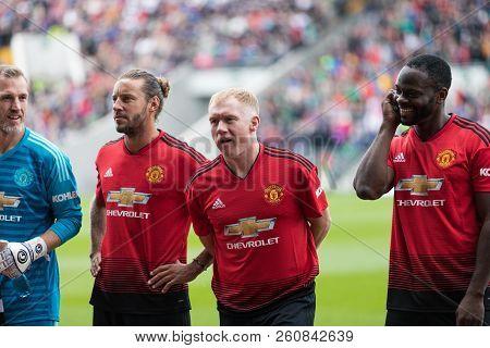 September 25th, 2018, Cork, Ireland - Paul Scholes, Louis Saha, And Alan Smith Line Up At Pairc Ui C