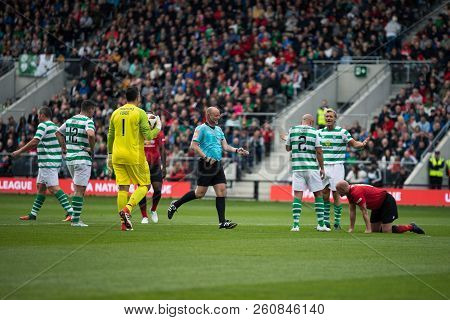 September 25th, 2018, Cork, Ireland - Johan Mjallby Fouls Nicky Butt For A Penalty During The Liam M