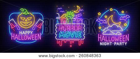 Big Set Neon Billboard, Theme Happy Halloween. Greeting Card Halloween. Horror Movie, Night Sky, Moo
