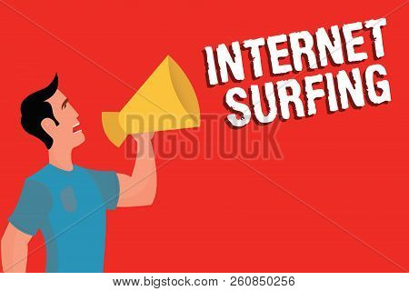 Handwriting Text Internet Surfing. Concept Meaning Browsing Hundred Of Websites Using Any Installed