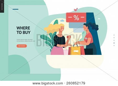 Business Series, Color 1 - Where To Buy - Modern Flat Vector Illustration Concept Of A Customer And