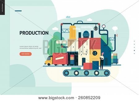 Business Series, Color 1 - Factory Production -modern Flat Vector Illustration Concept Of Industrial