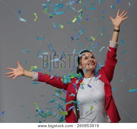 Portreit Beautiful Happy Woman At Celebration Party With Confetti .birthday Or New Year Eve Celebrat