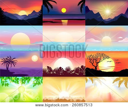 Sunset Vector Sunrise Vector Photo Free Trial Bigstock
