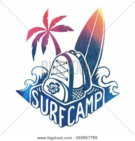 Colored Vector Surfing Camp Logo Template With Waves, Surf Board, Palm Tree And Backpack On Hand Dra