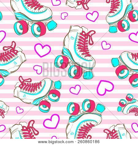 Vector Seamless Pattern With Cute Glamour Roller Skates. Girls. Sport. Love