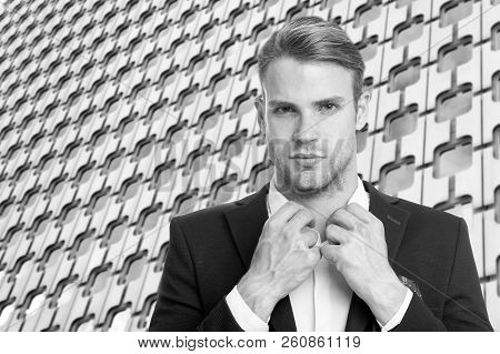 Estate Agent Buttoning White Collar Formal Suit Architecture Background. Businessman Near Business C