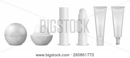 Vector Realistic 3d White Blank Glossy Closed And Opened Lip Balm Stick Icon Set Closeup Isolated On