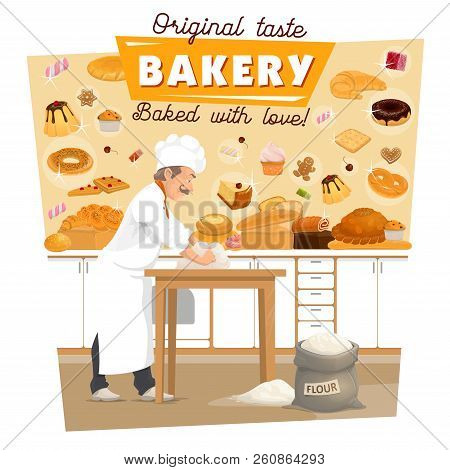 Baker Knead Dough On Bakery Kitchen For Bread And Pastry. Vector Man Profession With Flour Bag Bakin