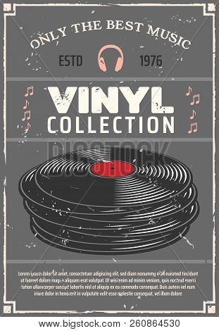 Vinyl Retro Poster For Music Shop Or Audio Appliances Of Players, Earphones Or Headphones And Audio