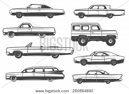 Retro Cars And Vintage Rarity Automobile Models. Vector Luxury Limousine Or Cabriolet With Retractab