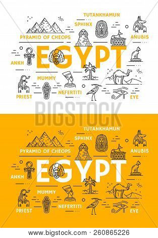 Egypt Travel Landmarks And Ancient Culture Thin Line Icons. Vector Poster Of Egyptian Cheops Pharaoh