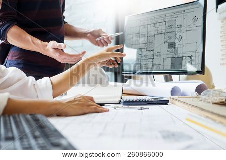 Professional Architect Designer Structural Engineer Team Colleagues Working Office Looking Computer