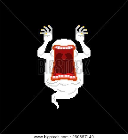 Ghost Pixel Art For Halloween. 8 Bit Phantom. Vector Illustration