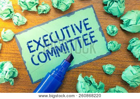 Handwriting text Executive Committee. Concept meaning Group of Directors appointed Has Authority in Decisions poster