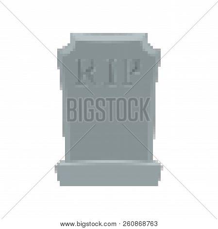 Tomb Pixel Art. Grave 8 Bit. Gravestone Halloween. Rip Cemetery Vector Illustration