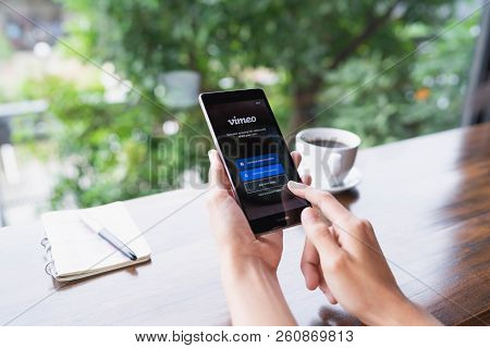 Chiang Mai, Thailand - August 18,2018: Woman Holding Huawei With Vimeo On Screen.  Vimeo Is A Video-