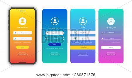 Login Form Page Template Set On Gradient Background For App Development, Smartphone Mockups, Website