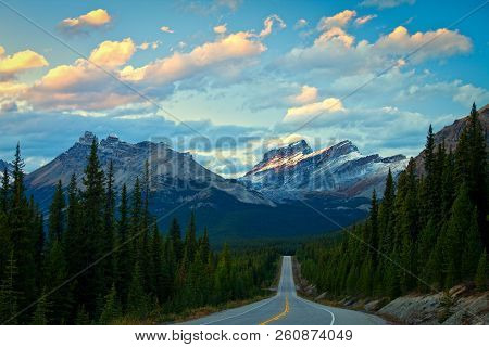 Evening Light On The Mountains Along The Icefields Parkway In Banff National Park, Canada